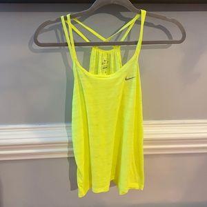 Vibrant Neon Yellow Strappy Nike Dri-Fit Tank S